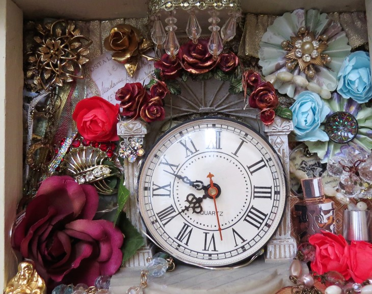clock brooches and roses in secret garden